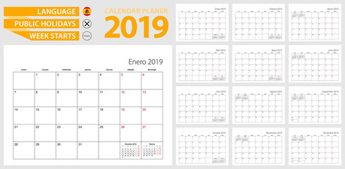 Spanish calendar planner for 2019. Spanish language, week starts from Monday.