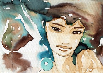 Photo sur Toile Inspiration painterly Watercolor illustration, portrait of a child.
