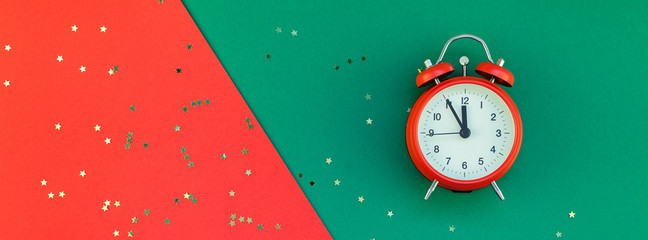 New Year or Christmas concept flatlay alarm clock