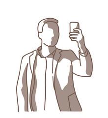 Drawing man self phone shadow