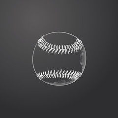 Hand Drawn Baseball Ball Sketch Symbol isolated on chalkboard. Vector Sport  Element In Trendy Style