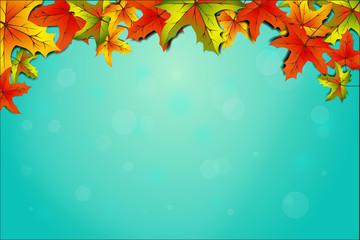 Hintergrund Herbst mit Blättern blau