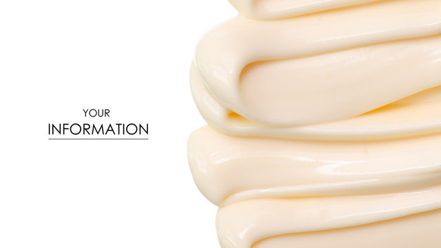 Mayonnaise macro cream pattern on white background isolation
