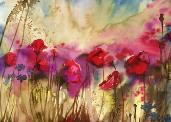 Self adhesive Wall Murals Painterly Inspiration Beautiful watercolor paintings that bring flowers to wages, poppies