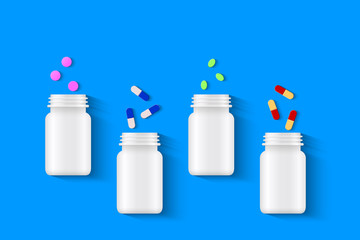 Pills, tablets and capsules with white pill bottles on blue background. Assorted pharmaceutical medicine concept, top view. Realistic vector illustration.