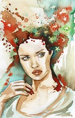 Photo sur Toile Inspiration painterly Watercolor portrait of a woman