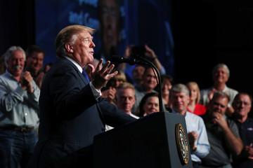 U.S. President Trump addresses the Electrical Contractors Association Convention in Philadelphia, Pennsylvania