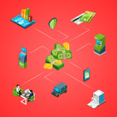Vector isometric money flow in bank process icons infographic concept illustration