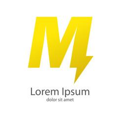 Logotipo letra M estilo rayo color amarillo
