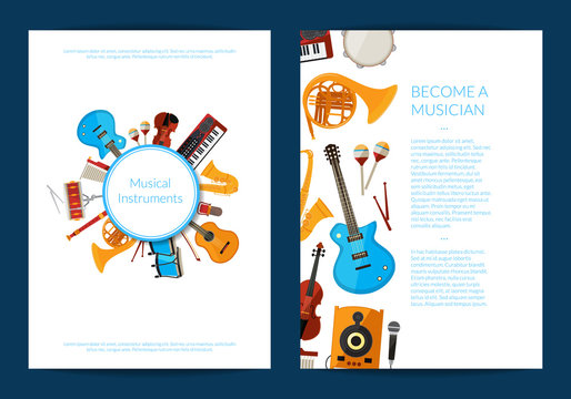 Vector cartoon musical instruments card or flyer template illustration. Collection of web banner posters