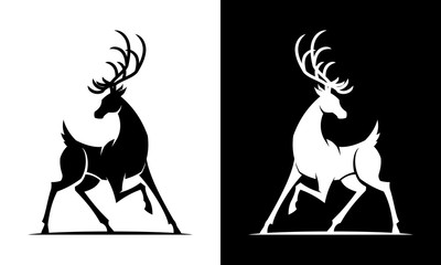 Deer silhouette vector black and white icon