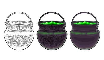 Halloween cauldron. Magic Pot with bubbles. Vector engraving