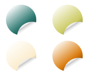 Round stickers with curled edge in different colors variants isolated on white background