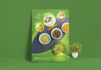 Food Flyer Layout with Circular Photo Elements