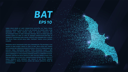 Bat made of particles on a dark background. The bat consists of geometric shapes. Vector illustration.