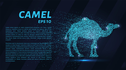 A camel made of particles on a dark background. A camel made out of geometric shapes. Vector illustration.