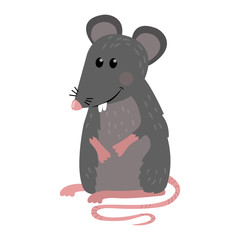 Funny mouse stands and smiles