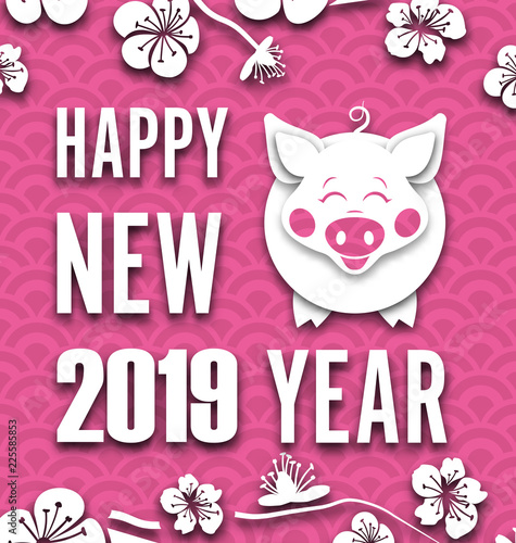 happy chinese new year background with cut paper pig spring sakura flowers