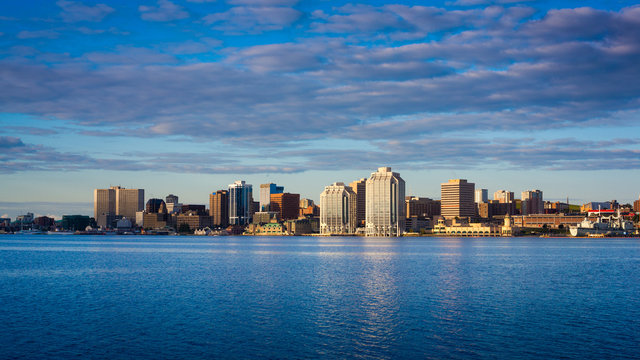 View of downtown Halifax with the waterfront and the Purdy's Wharf. Halifax, Nova Scotia, Canada.