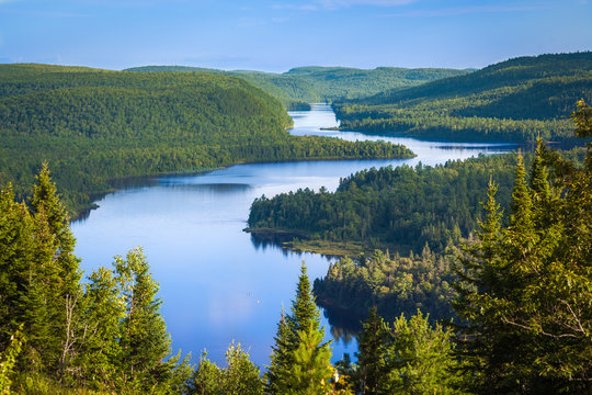 The beautiful Wapizagonke Lake at sunset viewed from the lookout Le Passage, La Mauricie National Park, Quebec, Canada