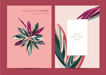 Vector Design of invitation card template for party, wedding, greetings. Botanical illustration. Colorful leaves of an exotic plant on a pink background