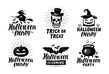 Halloween, set of logo or labels. Holiday symbol. Lettering vector illustration