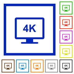 4K display flat framed icons