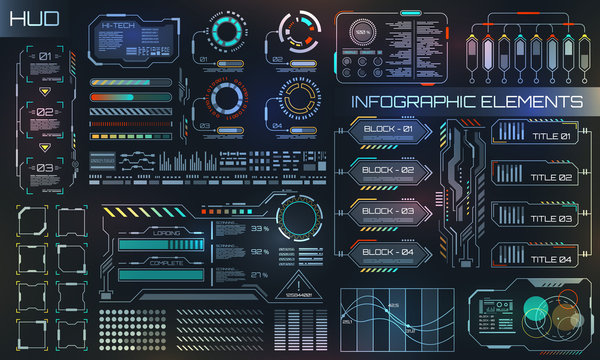 HUD UI for Business App. Futuristic User Interface HUD and Infographic Elements