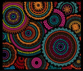 Poster Boho Stijl Background from Round Ornament Patterns