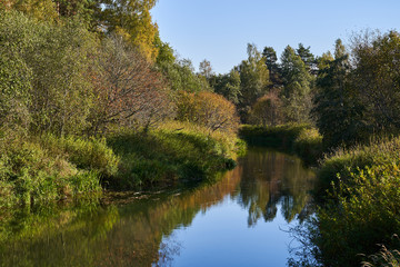 The river flows through the autumn forest