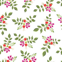 Dogrose berries seamless pattern. Vector background wild rose fruits with green leaf for design label syrup, tea packaging or printing fabric.