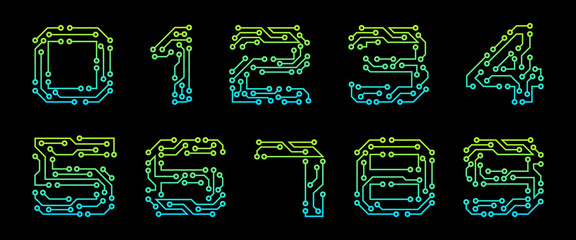 Set Numbers Made in Circuit Texture, Numerals Isolated on Black Background