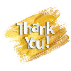 Paper art of thank you  lettering background. Vector Illustration