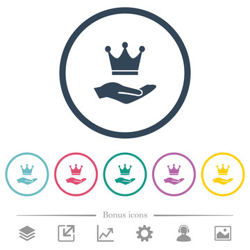 Premium services flat color icons in round outlines