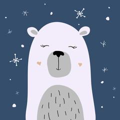Polar bear is enjoying the snow, vector Christmas card
