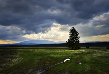 dark heavy clouds above the autumn landscape