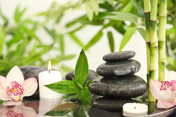 Bamboo leaves with spa stones and candles in water. Space for text