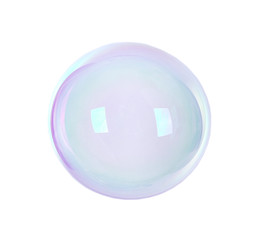 Beautiful translucent soap bubble on light background