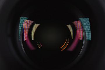Camera lens of professional photographer, closeup view