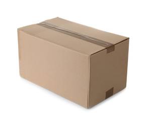 Cardboard box on white background. Mockup for design
