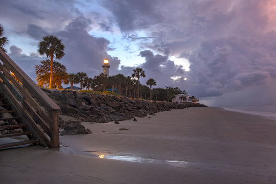 View Toward Lighthouse from the Pier at Sunrise on St Simons Island, GA