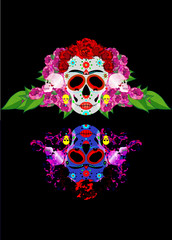 Mexican skull, Calavera with flowers. Decoration for Day of the Dead, Dia de los Muertos. Halloween poster background, greeting card or t-shirt design. Vector skulls isolated on black background
