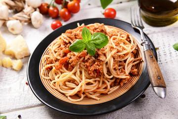 Tasty homemade spaghetti bolognese