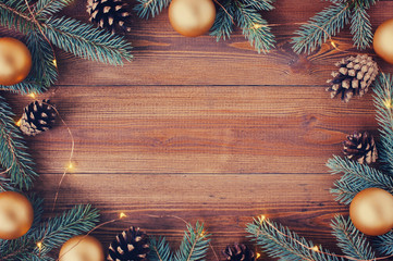 Brown wooden background with festive Christmas decoration