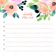 weekly planner with beautiful floral watercolor