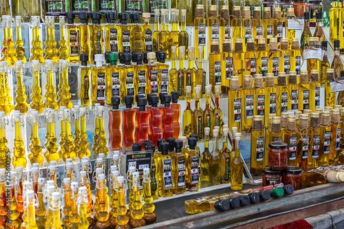 Asprovalta, Greece - August 13, 2018: Olive oil store in public