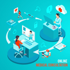 Online Medical Consultation Isometric Illustration