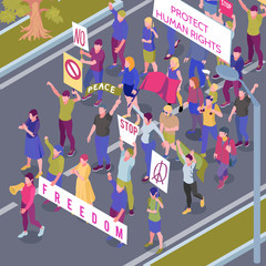 Protesting People Procession Isometric Illustration
