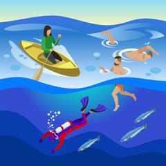Sea Outdoor Activities Composition
