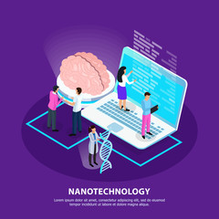 Nano Technology Isometric Gradient Background